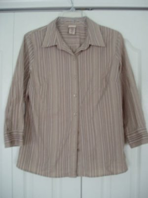 Covington Top Shirt Blouse Medium M Stripes Brown NEW