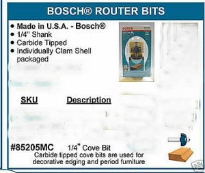 "Bosch Router Bit Cove edge Molding Woodworking 1/4"" New"