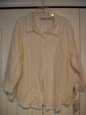 Sag Harbor Top Shirt 3X White Pinstripe Gold Glitte NEW