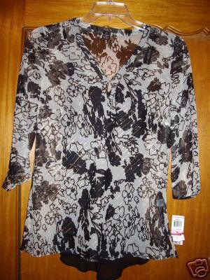 Style & Co Top Shirt Blouse Size 10 2 pc w Cami 3/4 NEW