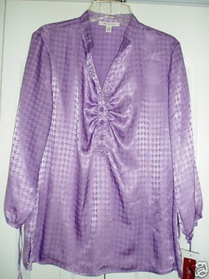 J M Collection Top Shirt 10 JM 3/4 Sleeve Violet NEW