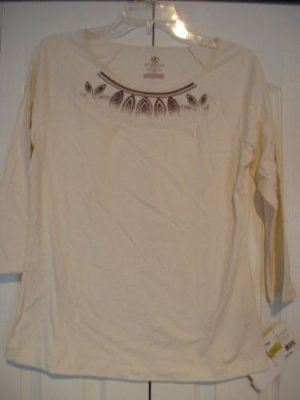 Covington Top Shirt Small White Embroidered 3/4  NEW