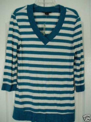 Style & Co Top Shirt Large Aqua White Stripe 3/4 Sleeve