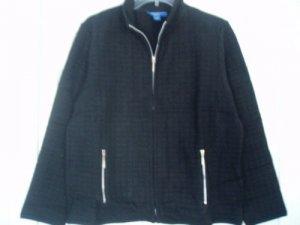 Karen Scott Jacket Top Petite Large PL Black Sport NEW