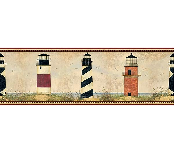 Dark Red Trim Lighthouse Legends Wallpaper Wall Border