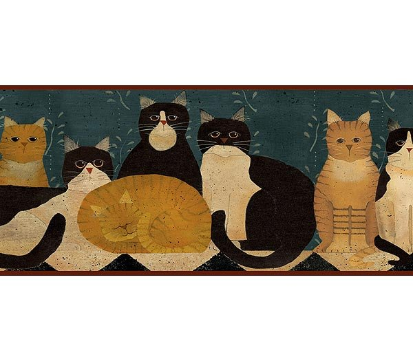 Denim Country Folk Cats Wallpaper Wall Border