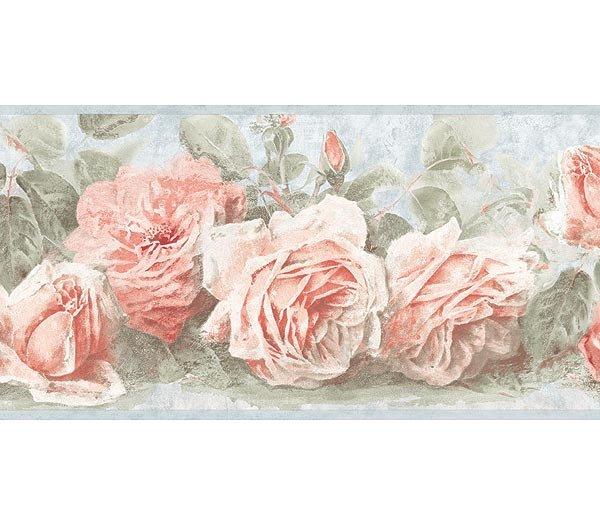 Soft Blue Pink Vintage Rose Wallpaper Wall Border
