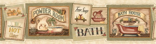 Laundry Bathroom Olive Bath Signs Wallpaper Wall Border