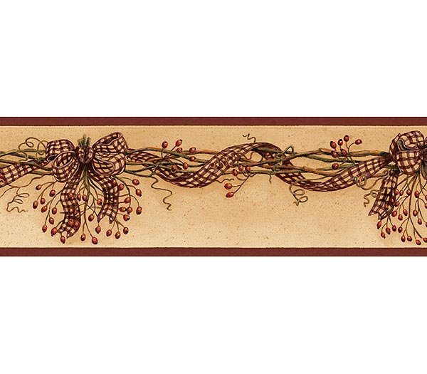 Burgundy Rosehip Garland Wallpaper Wall Border