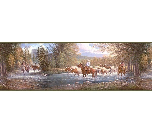 Western Horses Cowboy River Wallpaper Wall Border