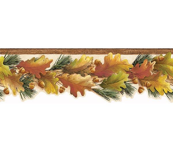 Orange Oak Leaves Acorns Wood Wallpaper Wall Border