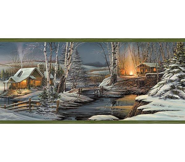Green Winter Snow Evening Lodge Wallpaper Wall Border