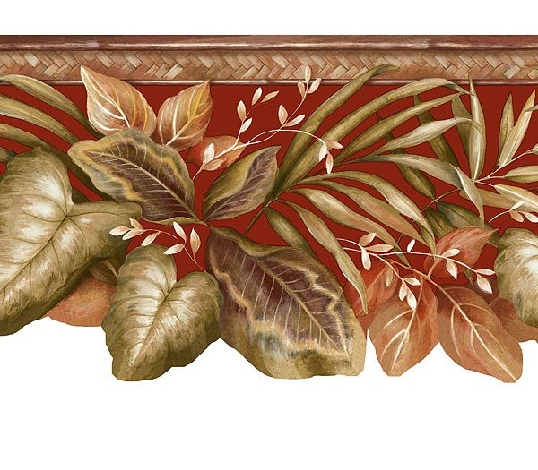 RED TROPICAL LEAVES BAMBOO Wallpaper Wall Paper Border