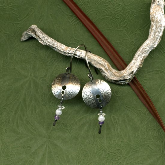 Silver Orbit Earrings with Quartz, Aquamarine and Amethyst