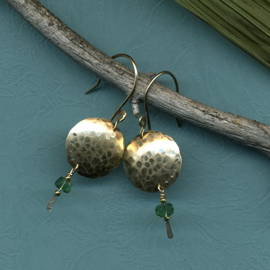 Moon  Earrings in Green
