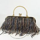 Evening Bag Black Strands of Seed Beads Beaded Handbag Purse