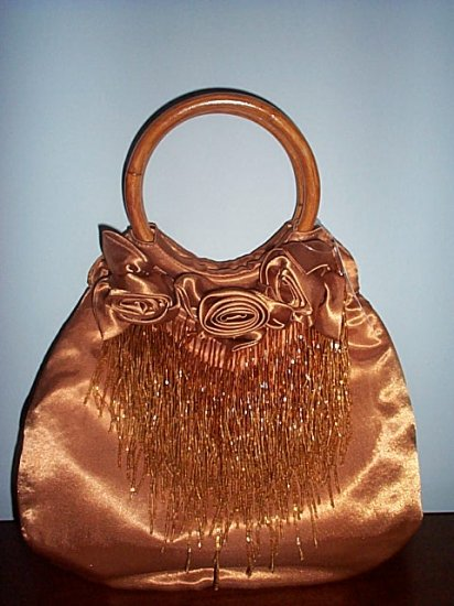 Bronze Satin Beaded Handbag Seed Bead Streamers Evening Bag