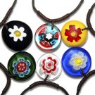 Hippie Decorative Glass Flower Pendant Leather Cord Necklace