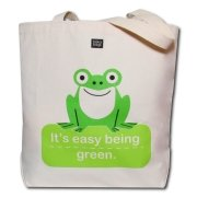 Eco-Friendly Reusable Shopping Tote Bag Easy Being Green Frog