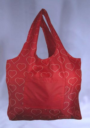 Reusable Bags Eco-Friendly TuckerBags Red Hearts Shopping Tote Bag