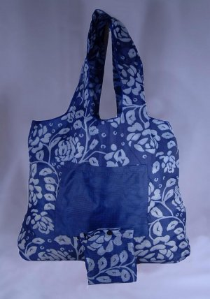 Reusable Eco-Friendly TuckerBags Blue Gardenia Shopping Tote Bag
