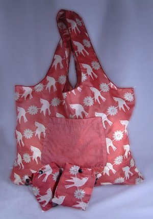 Reusable Tucker Bags Tote Eco-Friendly Birds and Flowers with Pouch