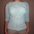 Popcorn Blouse Sleeves Light Blue Top no wrinkle Great for Travel