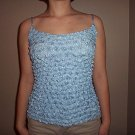 Popcorn Top Light Blue Thin Strap Blouse easy travel No Wrinkle Shirt