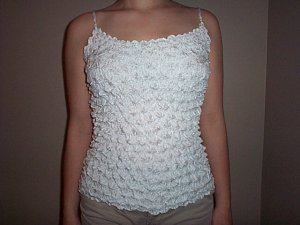 Popcorn Blouse White Thin Strap Top no wrinkle Easy Travel Shirt