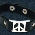 Peace Sign Bracelet  Steel Leather Cuff Adjustable Snap Hippie Unisex