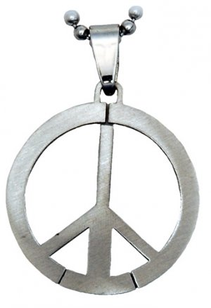 Stainless Steel Peace Sign Pendant Necklace Ball Chain Hippie