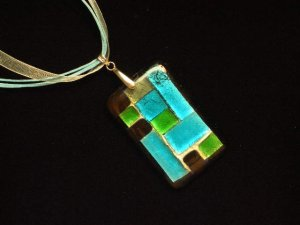 Glass Pendant Ribbon Cord Necklace Murano Lampwork Foil Blue Green