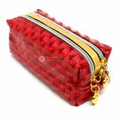 Quilted Red Stud Pattern Double Pocket Pouch with Heart Dangle Zipper Pull