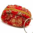 Bag Red Floral Print Velvet Pouch Bracelet Ring Wrist Handle