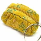 Velvet Bag Pouch Yellow Floral Print Bracelet Ring Wrist Handle