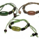 Hippie Wood Stone Dark Green Beaded Leather Cord Bracelet