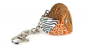 Viva Beads Safari Keychain Solid Clay Heart Organza Gift Bag