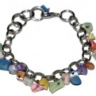 Bracelet Multicolor Dangle Shell Beads Silver Chain