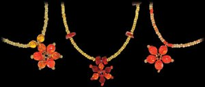 Beaded Necklace Flower Design Pendant Seed Beads