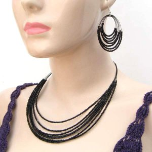 Beaded Necklace Loop Earring Set Cz Seed Beads Multi Strand Black