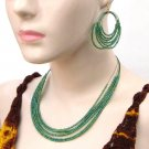 Beaded Necklace Loop Earring Set Cz Seed Beads Multi Strand Green