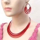 Beaded Necklace Loop Earring Set Cz Seed Beads Multi Strand Red