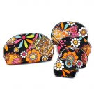 Five Piece Cosmetic Pouch Bag Set  Retro Flower Design Black