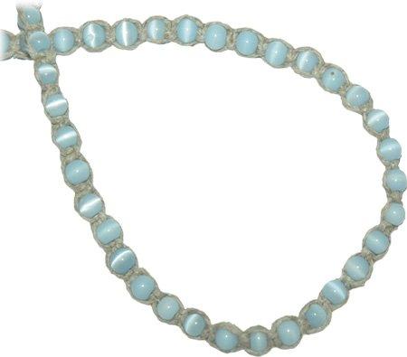 Hemp Choker Necklace Light Blue Glass Cats Eye Beads Hippie Jewelry