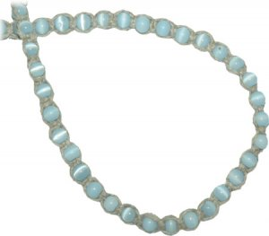 Hemp Choker Necklace Light Blue Glass Cats Eye Beads Hippie Jewelry