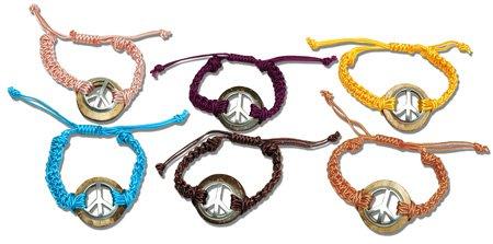 Linen Bracelet Wood Metal Peace Sign Adjustable Hippie Jewelry