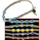 Hemp Weave Bracelet Colorful Glass Beads Hippie Style Jewelry
