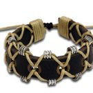 Leather Linen Armband Bracelet Hippie Style Jewelry Adjustable