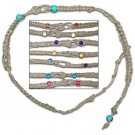 Hemp Weave Choker Necklace Colorful Bright Glass Beads Hippie Style Jewelry