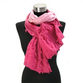 Scarf Ombre Fuchsia Cotton decorative accent balls